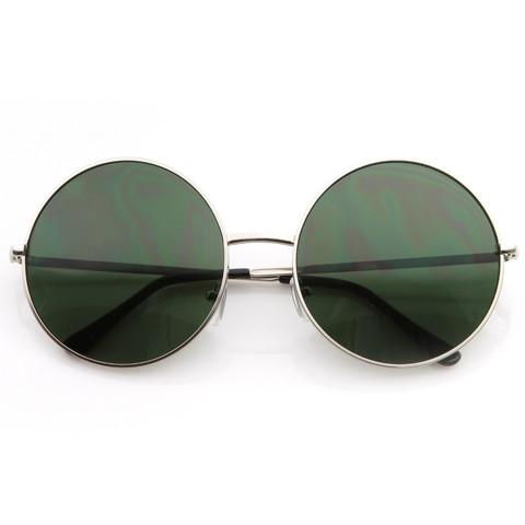 Oversize Vintage Inspired Metal Round Circle Sunglasses 8370                             zeroUV