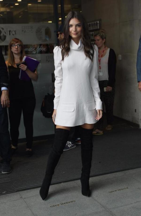Dress Emily Ratajkowski Boots Black Boots Knee High