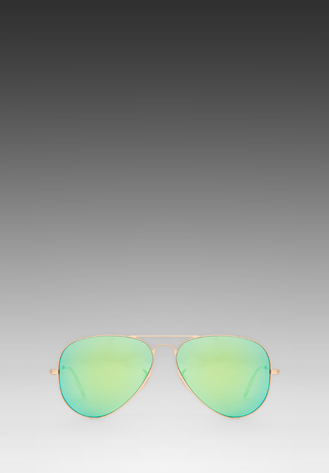 RAY-BAN Large Metal Flash Lense Aviator in Matte Gold/Crystal Green Mirror - Sunglasses & Eyewear