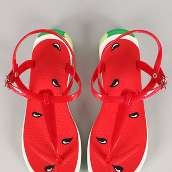 shoes watermelon print melon red swimwear sandals flip-flops fruits juicy couture Red low heel sandals
