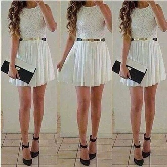 white dress wonderful white golden belt