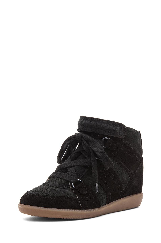 Isabel Marant|Bluebel Calfskin Velvet Leather Sneaker in Faded Black
