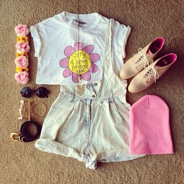 t-shirt dress hat jewels sunglasses shoes shirt shorts denim overalls
