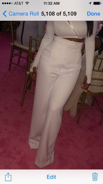 pants white high waist flare pantss