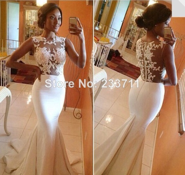 Exquisite High Neck White Mermaid Sheer Long Evening Prom Dresses 2014 Satain Lace Vestido De Festa Longo Formal Gown 6288-in Evening Dresses from Apparel & Accessories on Aliexpress.com