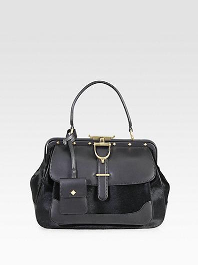 Gucci - Lady Stirrup Medium Calf Hair & Leather Top Handle Bag - Saks.com