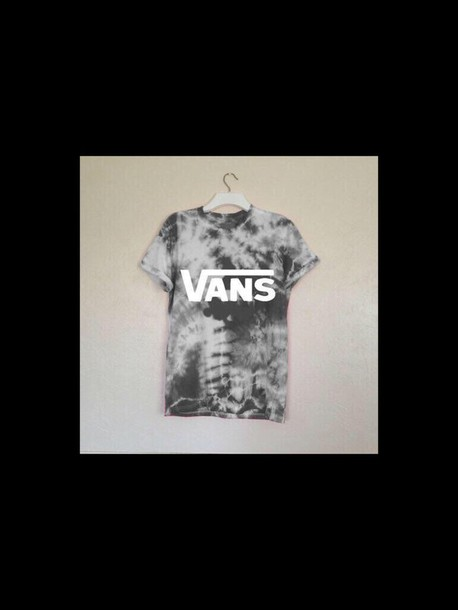 shirt black white vans shirt  tye dye  pattern