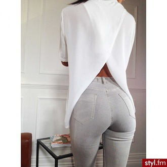 blouse pink boutique crossed back white open back shirt top open back shirt open back dresses open back tee split back split back shirt grey tumblr instagram jeans t-shirt cute fashion grey jeans white t-shirt white top both outfit tumblr outfit grey skinny jeans white long sleeve top split black white top mesh