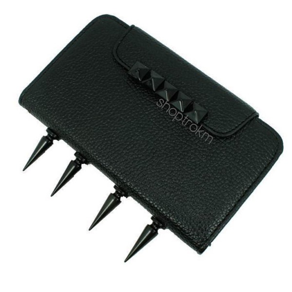 bag all black everything studs spikes leather wallet phone case phone cover