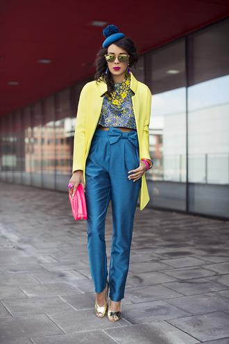 macademian girl coat top pants bag shoes sunglasses jewels