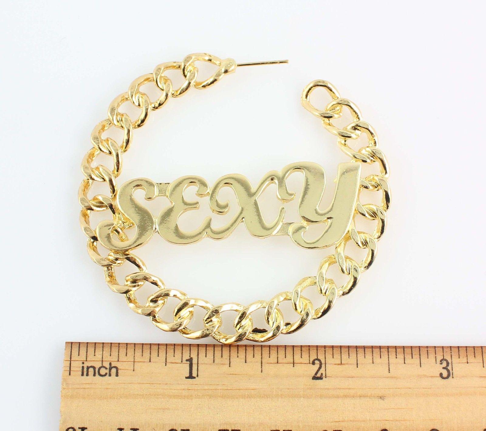"6 5cm Trendy Gold Tone ""Sexy""Curb Chain Hoop Earrings Hip Hop Jewelry | eBay"