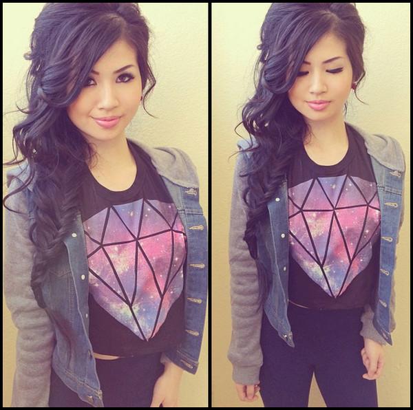 jacket denim jacket diamonds shirt t-shirt