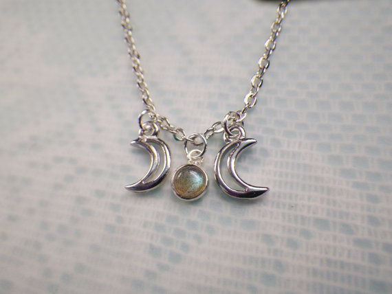 Tiny Faerie Labradorite Triple Goddess Moon necklace от lotusfairy