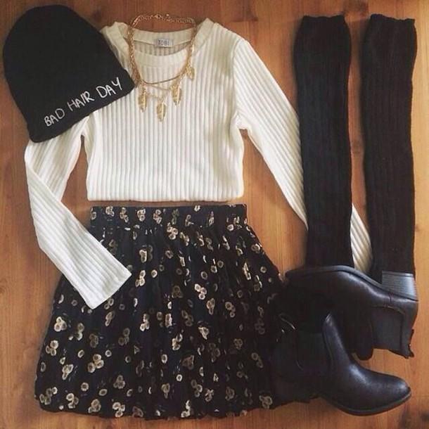 skirt cute skirt socks sweater ivory cropped sweater cute sweater