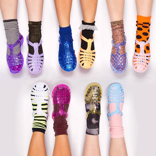 shoes jellies pink purple gold black clear blue yellow lavender glitter flats socks and sandals rubber sandals sparkle slip ins jellies vintage cute socks underwear stripes crew socks