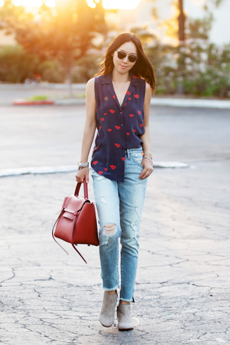 fit fab fun mom blogger blouse cardigan jeans shoes sunglasses bag jewels dior so real lip print sleeveless shirt blue shirt blue jeans ripped jeans celine bag celine brown bag boots grey boots