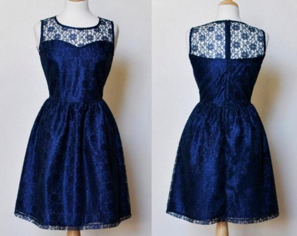 dress royal blue sweetheart dress vintage lace dress blue dress