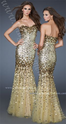 La Femme 18439 Studded Fit and Flare Gown | MagicMomentsProm.com