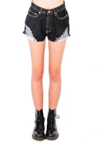 nyct clothing black denim shorts distressed denim shorts
