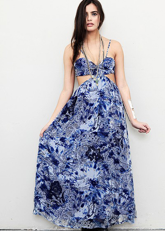 Blue Longer Lengths Dress - Blue Floral Maxi Dress with | UsTrendy