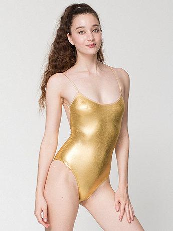 Shiny Spaghetti Strap Bodysuit   American Apparel