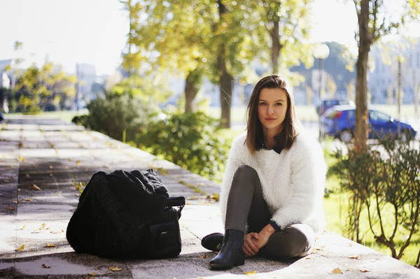 miss tangerine sweater shirt coat pants shoes scarf bag