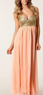 Peach Coral Maxi Bustier Dress - Juicy Wardrobe