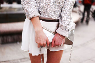 sweater silver glitter cute girly oversized sweater rolled up sleeves sequins sequin sweater shirt skirt jewels handcuffs jewelry hand chain tumblr