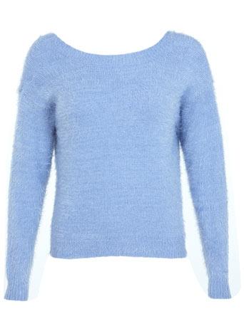 Bow V-Back Fluffy Jumper - Knitwear  - Clothing  - Miss Selfridge