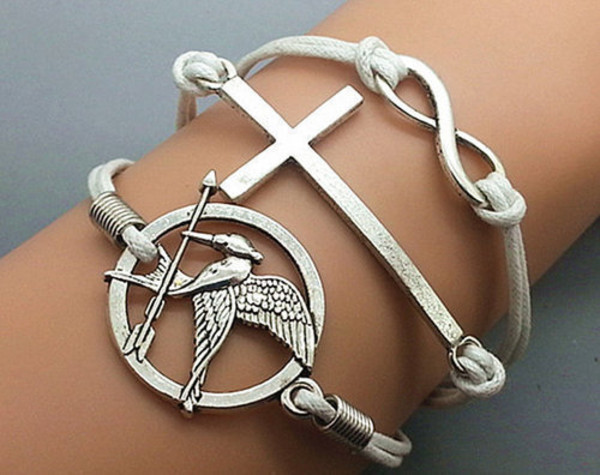jewels pretty silver the hunger games mockingjay pin bracelets