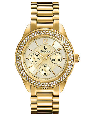 Bulova Women's Gold-Tone Stainless Steel Bracelet Watch 38mm 97N102 - Watches - Jewelry & Watches - Macy's