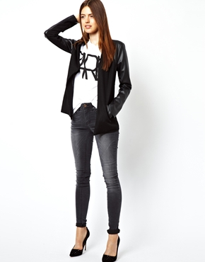 ASOS   ASOS Blazer with Leather Look Sleeves at ASOS