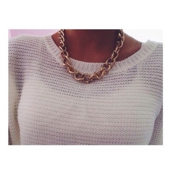 sweater white gold chain necklace