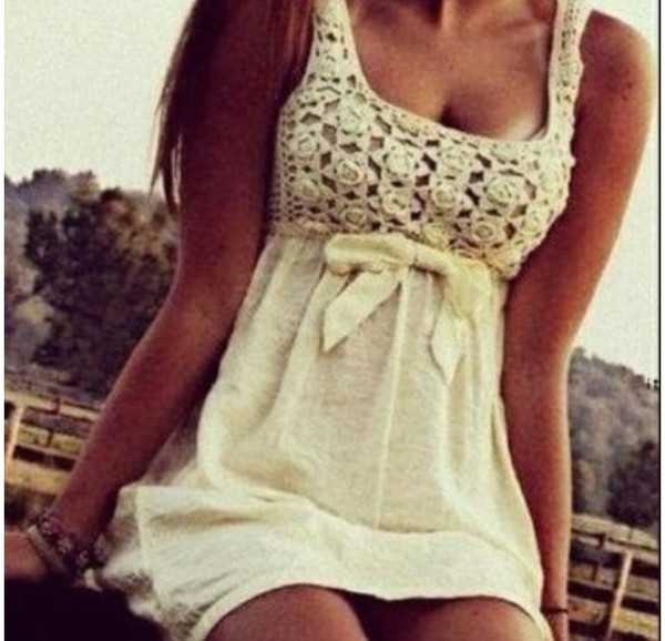 dress crochet cream beach girl hair tanned surf beach