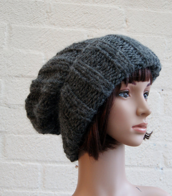 Extra large Knitted Slouchy Grey Beanie hat by StripesnCables
