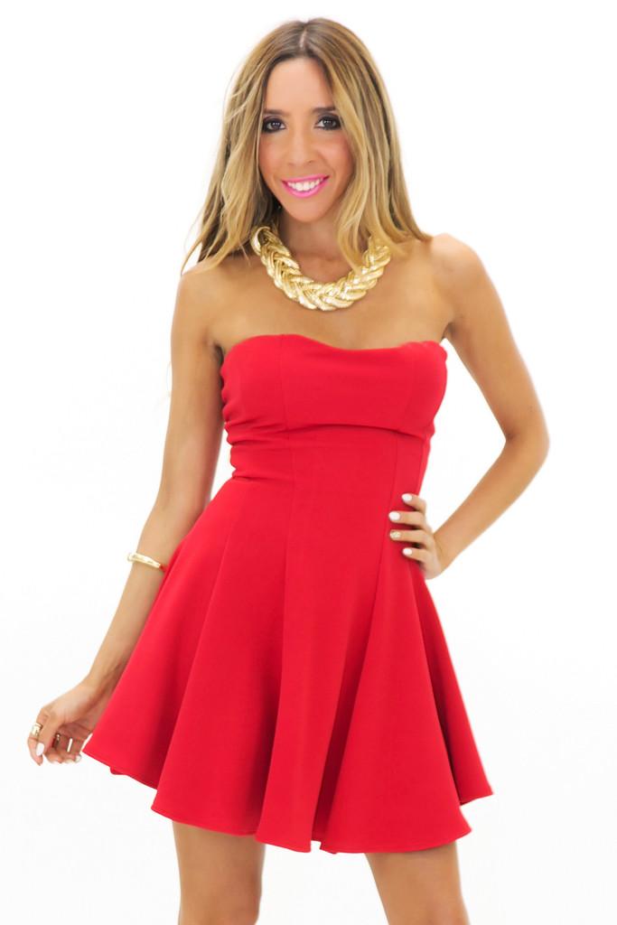 JENET TUBE RUFFLE MINI DRESS - Red   Haute & Rebellious