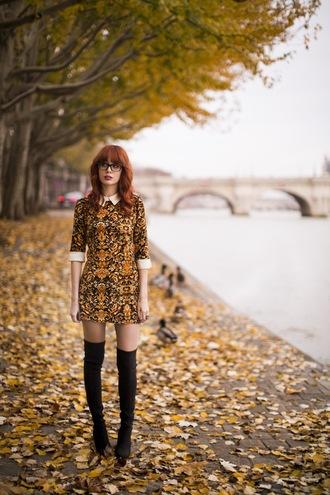 miss pandora blogger patterned dress mini dress thigh high boots dress shoes jewels