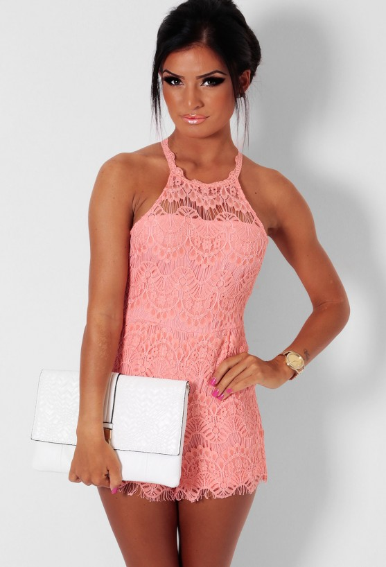 Deanna Peach Lace Overlay Playsuit   Pink Boutique