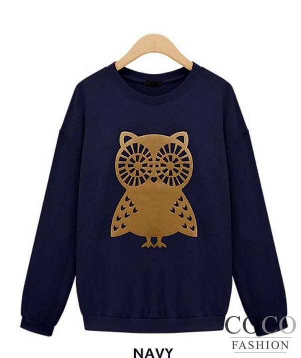 Dark Blue Cute Big Fashonable Owl Print Casual Collection Jumper