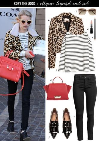 dailystylefinds blogger jacket sunglasses make-up t-shirt bag jeans shoes animal print handbag striped top loafers