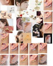 kpop korea piercing crystal rhinestone ear wrap cuff stud earrings cute new   eBay