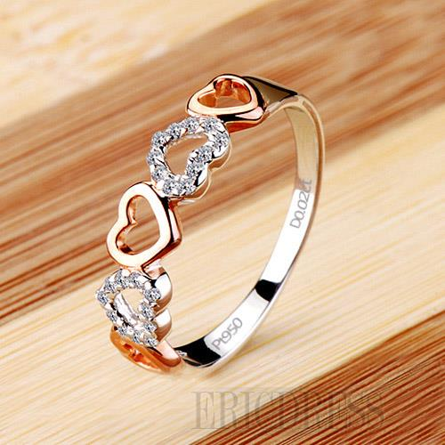 NSCD 2 Point Romantic Heart Design 925Silver Ring Rings- ericdress.com 10857450
