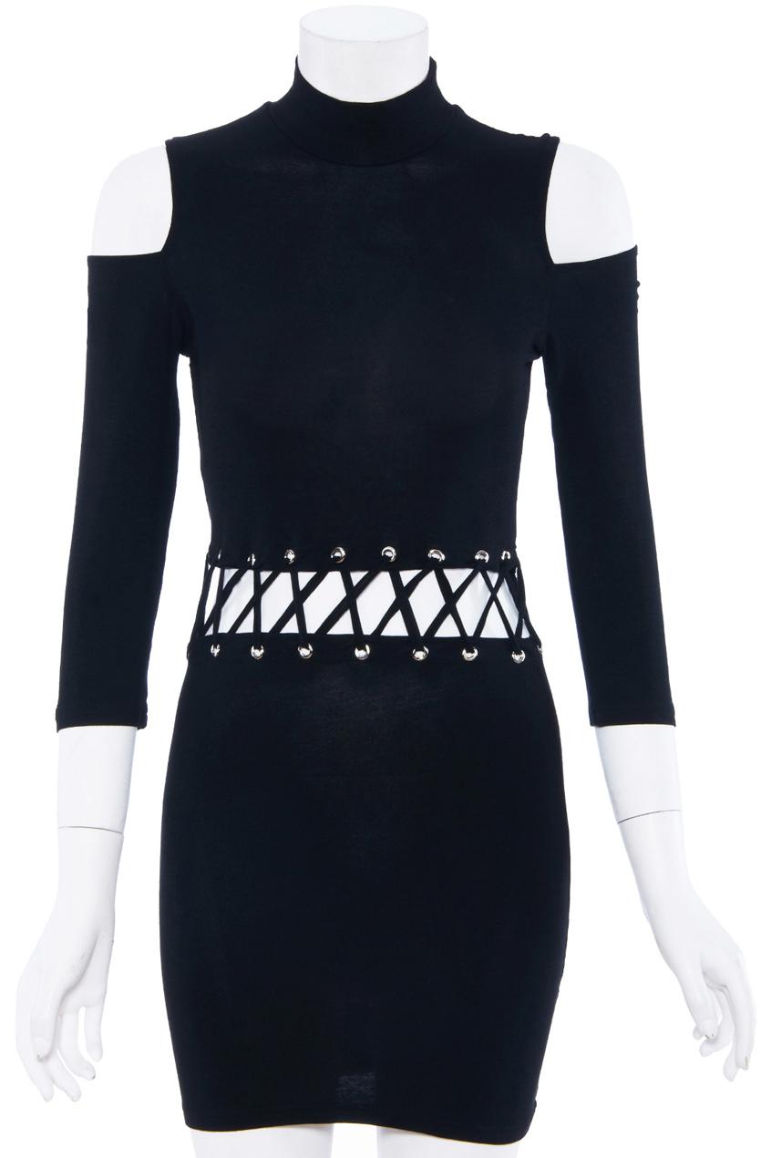 ROMWE | Off-shoulder Tied Black Dress, The Latest Street Fashion