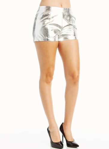 High Waisted Silver Shorts