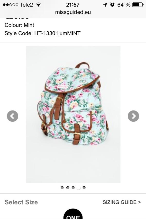 bag backpack aztec flowers girly
