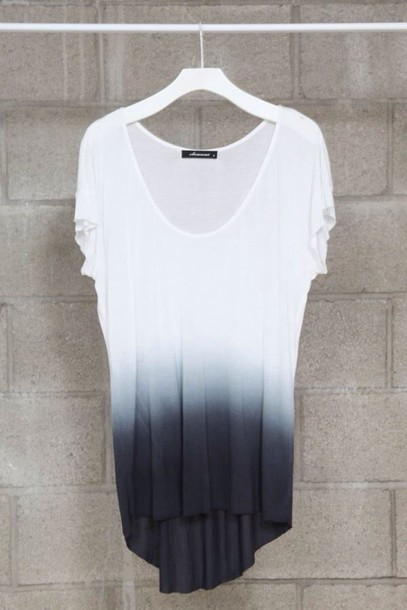 blouse ombre shirt short sleeve black and white blouse