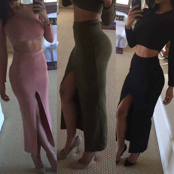 dress two-piece black dress pink dress olive dress split skirt dress two piece dress set little black dress