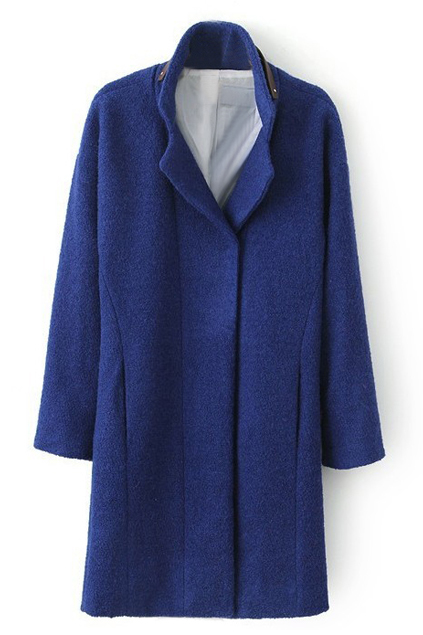 ROMWE   Belted Collar Blue Woolen Coat, The Latest Street Fashion