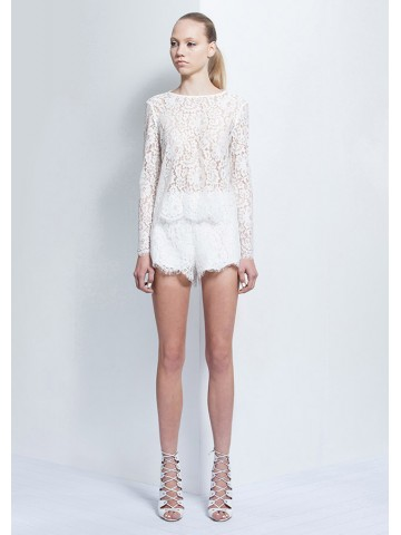 KEEPSAKE Almost Over LS Top IVORY LACE