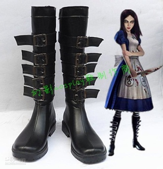 black boots boots cosplay boots alice madness returns alice